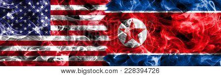 North Korea And United States Of America Smoke Flag