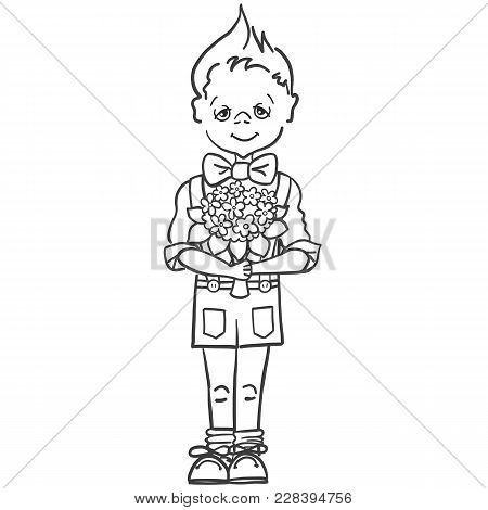 Drawing Of A Little Boy In A Butterfly And Shorts With Suspenders With A Bouquet Of Flowers To His T