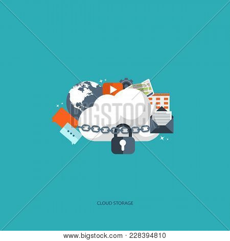 Cloud Computing Concept. Data Storage Network Technology. Multimedia Content, Web Sites Hosting. Mem