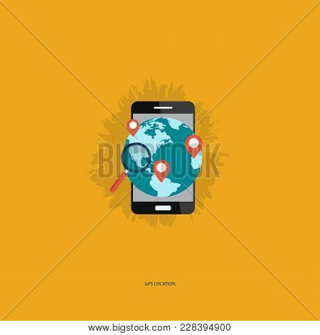 Global Position System Location. Flat Designed Concept Illustration Template For Find The Right Plac