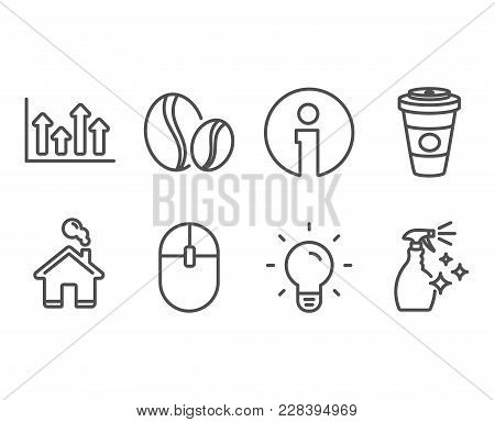 Set Of Coffee Beans, Upper Arrows And Computer Mouse Icons. Light Bulb, Takeaway Coffee And Washing