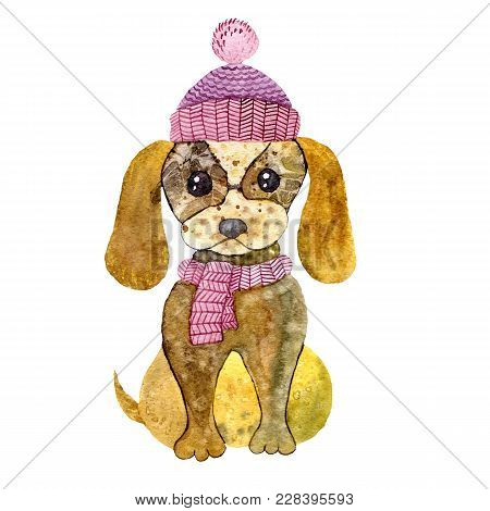 Watercolor Illustration Of Cartoon Puppy With Cap And Scarf. Hand Drawn Little Doggy In Winter Cloth