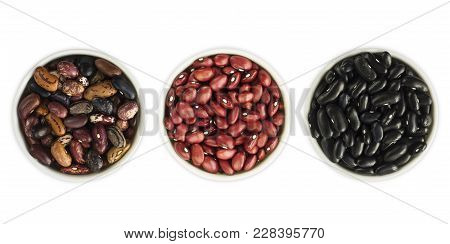 Set Of Kidney Beans Isolated On White Background. Top View. Kidney Beans In A Bowl Isolated On White