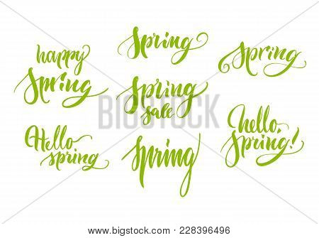 Set Lettering Theme Spring, Happy, Hello, Green, Isolated. Selection Of Greetings Of Season. Vector