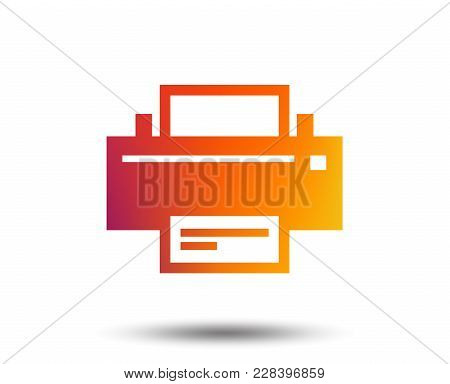 Print Sign Icon. Printing Symbol. Print Button. Blurred Gradient Design Element. Vivid Graphic Flat