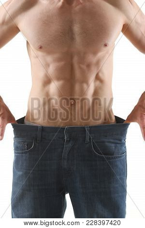Athletic Folded Man Slimming Theme Is Very Strong Press And Fitness