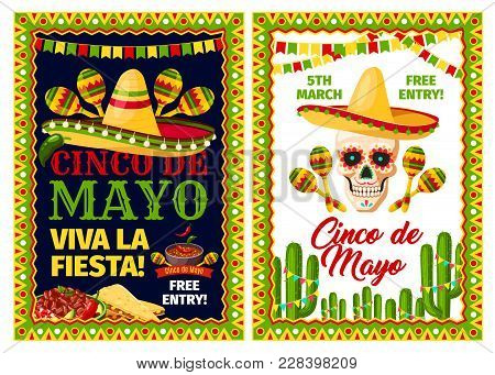 Cinco De Mayo Mexican Holiday Party Invitation Banner Set. Fiesta Party Sombrero Hat, Maracas And Sk