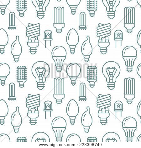 Light Bulbs Seamless Pattern With Flat Line Icons. Led Lamps Types, Fluorescent, Filament, Halogen,