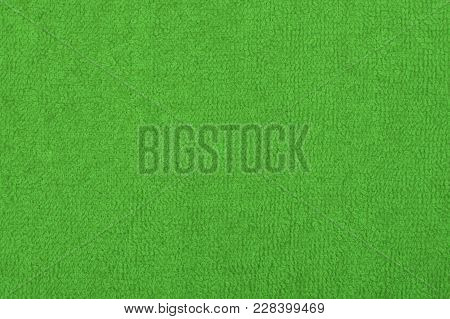 Abstract Background With Green Texture, Terry Cloth Fabric, Full Frame, Close-up
