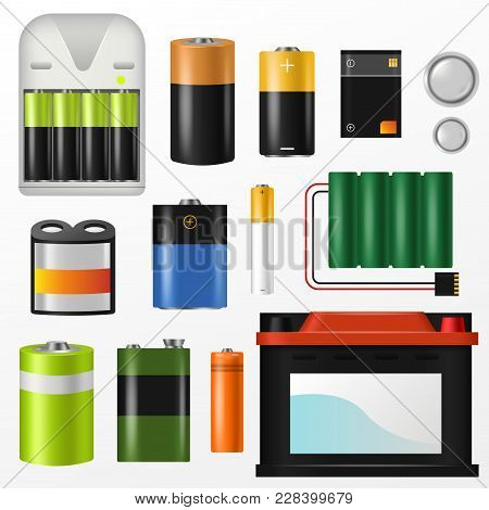 Battery Vector Pile Of Power Alkaline Batteries And Battery-powered Or Battery-driven Illustration S