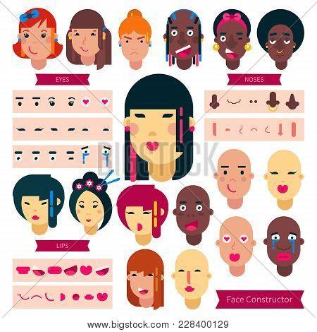 Teenager Face Constructor Vector Teen Character Girl Or Boy Avatar Creation Illustration Set Of Faci