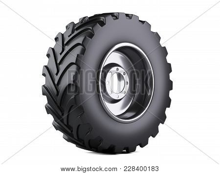 New Vehicle Truck Tire. Big Car Wheel With Metal Disk For Heavy Trucks. 3d Illustration Over White B