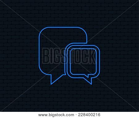 Neon Light. Chat Sign Icon. Speech Bubbles Symbol. Communication Chat Bubbles. Glowing Graphic Desig