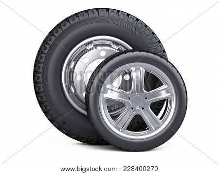 Set Of Two Tires. New Car Wheels With Disk For Cars And Trucks - Front Wiev. 3d Illustration Over Wh