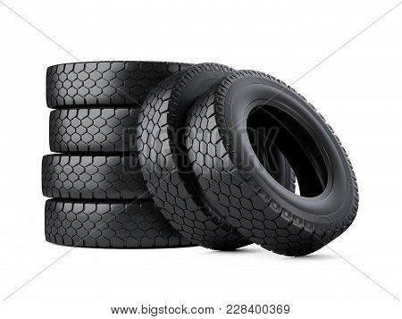 Set Of Six Big Vehicle Truck Tires Stacked. New Car Wheels. 3d Illustration Over White Background.