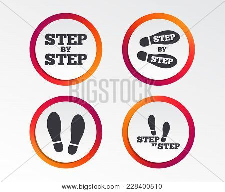 Step By Step Icons. Footprint Shoes Symbols. Instruction Guide Concept. Infographic Design Buttons.