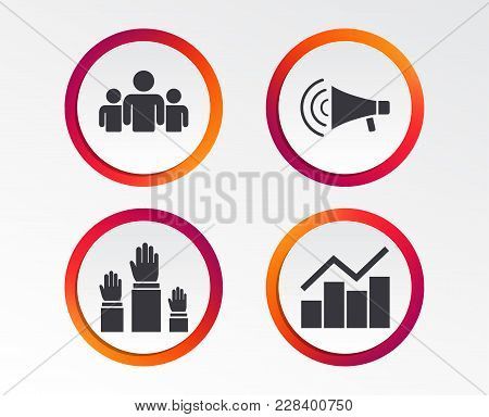 Strike Group Of People Icon. Megaphone Loudspeaker Sign. Election Or Voting Symbol. Hands Raised Up.