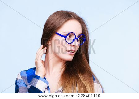 Studying, Beauty Of Education And Fun Concept. Attractive Nerdy Woman In Weird Big Glasses. Studio S