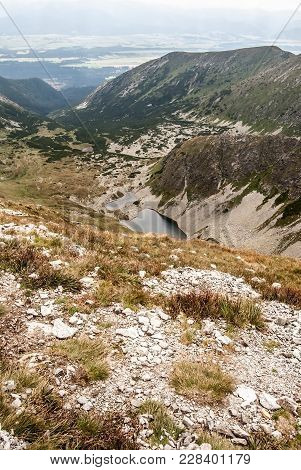 View From Highest Peak Of Western Tatras Mountains In Slovakia With Lakes And Peaks Around