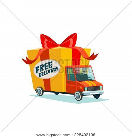 Free Delivery Concept. Delivery Truck With Gift Box, Parcel. Delivery Service. Shipping By Car Or Tr