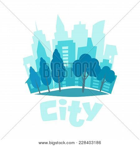 Urban Landscape In Flat Style. City Skyline Vector Illustration. Blue City Silhouette Icon. Urban Li