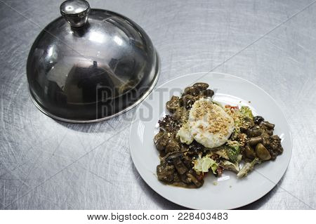 Salad Of Baked Mushrooms, Eggs And Peking Cabbage Is On The Kitchen Table.