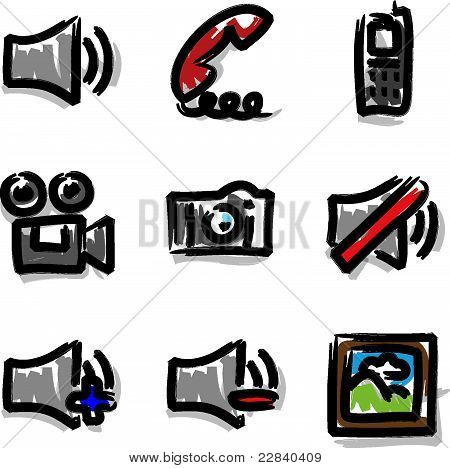 Vector web icons marker contour media