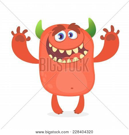 Cute Furry Red Monster. Vector Troll Character. Design For Children Book, Holiday Decoration, Sticke