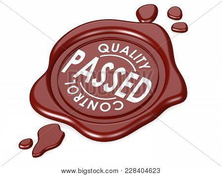 Passed Quality Control Red Wax Seal. 3d Rendering