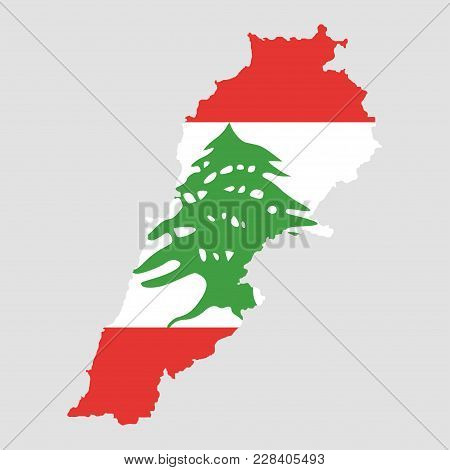 Territory And Flag Of Lebanon. Gray Background