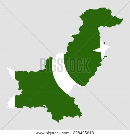 Territory And Flag Of Pakistan. Gray Background