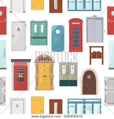 Doors Vector Set House Doorway Front Entrance To House And Building In Flat Style Doorstep Decoratio