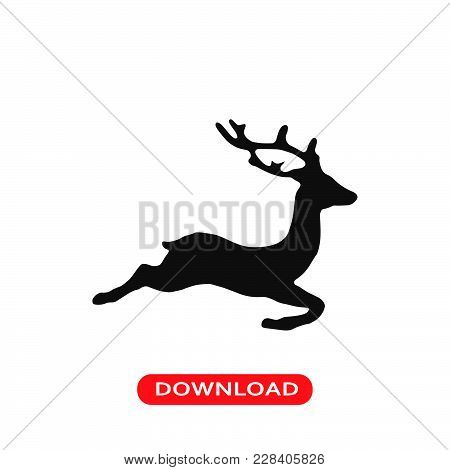 Deer Icon Vector In Modern Flat Style For Web, Graphic And Mobile Design. Deer Icon Vector Isolated
