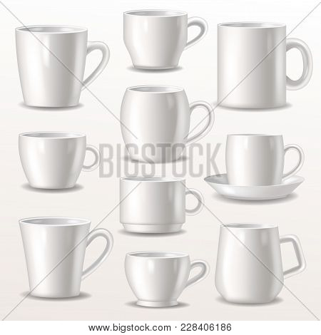 Cup Vector Empty Mugs For Coffee Or Tea For Branding And Simple Teacup Of Various Shapes Illustratio
