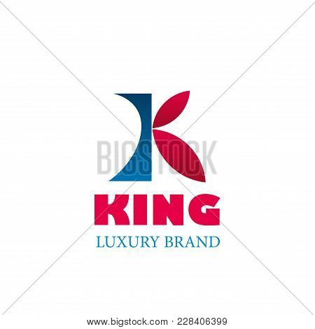 King Luxury Brand Colorful Logo. Elegant Design Emblem In Red And Blue Colors. Vector Sign For Premi