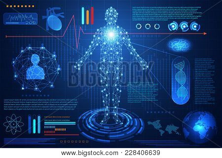 Abstract Technology Ui Futuristic Concept Hud Interface Hologram Elements Of Digital Data Chart, Com