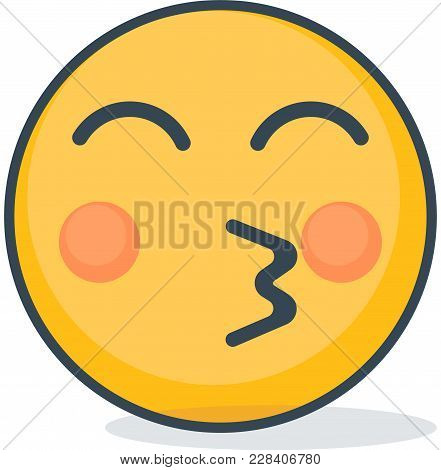 Isolated Kiss Emoticon. Vector Emoticon On White Background