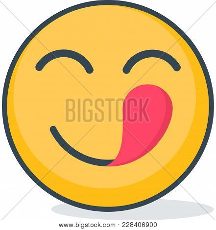 Isolated Hungry Emoticon. Vector Emoticon On White Background