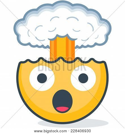 Isolated Head Explosion Emoticon. Vector Emoticon On White Background