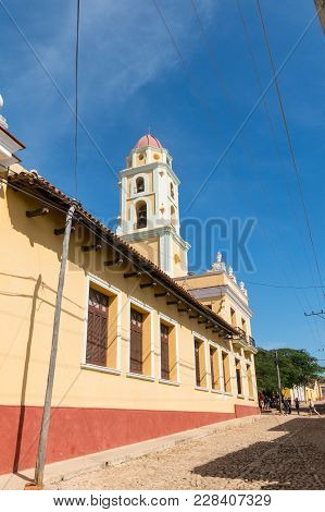 Trinidad, Cuba - January 4, 2017: Colonial Town Cityscape Of Trinidad, Cuba. Unesco World Heritage S