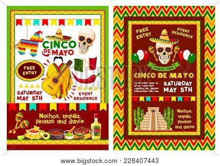 Cinco De Mayo Fiesta Party Banner For Mexican Holiday Invitation Template. Skull In Sombrero Hat Wit