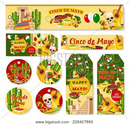 Cinco De Mayo Mexican Holiday Party Celebration Banners And Tags. Vector Set Of Party Greetings And