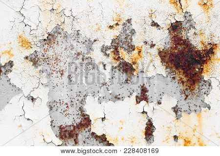 Dirty Peeling Paint Grunge Rusty Old Weathered Metal Plate  Texture Wall.