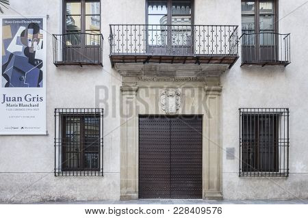 Malaga, Spain- January 22,2018: Museum Carmen Thyssen, Historic Center Of Malaga, Spain.