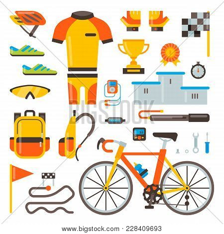 Cycling On Bike Vector Bicycle Accessories Of Biker Or Cyclist In Sports Wear Clothes With Helmet Il