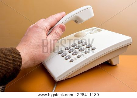 An Employee Of  Office Takes  Telephone Receiver, An Important Telephone Conversation, Solving Busin