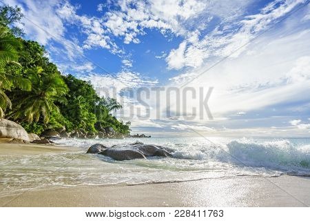 Paradise Tropical Beach With Rocks,palm Trees And Turquoise Water In Sunshine, Seychelles 35