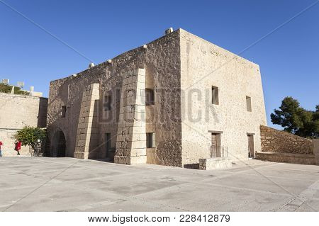 Alicante, Spain- January 18, 2018: Santa Barbara Castle Fortress, Historic Monument. Alicante, Spain