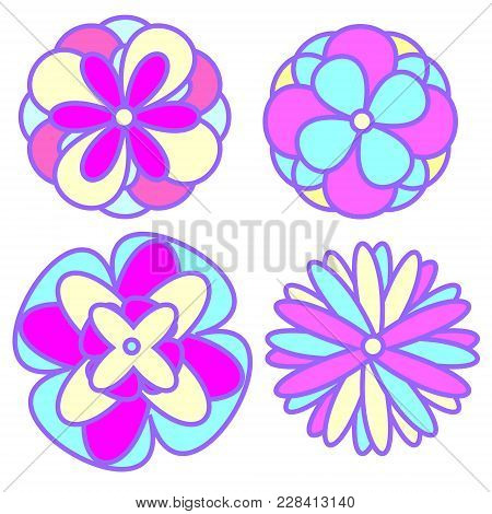 Abstract Flowers In Pastel Goth Colors. Decorative Design Elements