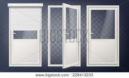 Plastic Door Vector. Pvc Plastic Profile. White Empty Roller Shutter. Opened And Closed. Isolated On